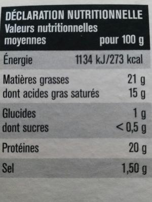 Chêne d'Argent Camembert - Informations nutritionnelles - fr