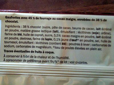 gaufrettes enrobées de chocolat - Ingrédients - fr