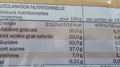 gaufrettes enrobées de chocolat - Informations nutritionnelles - fr