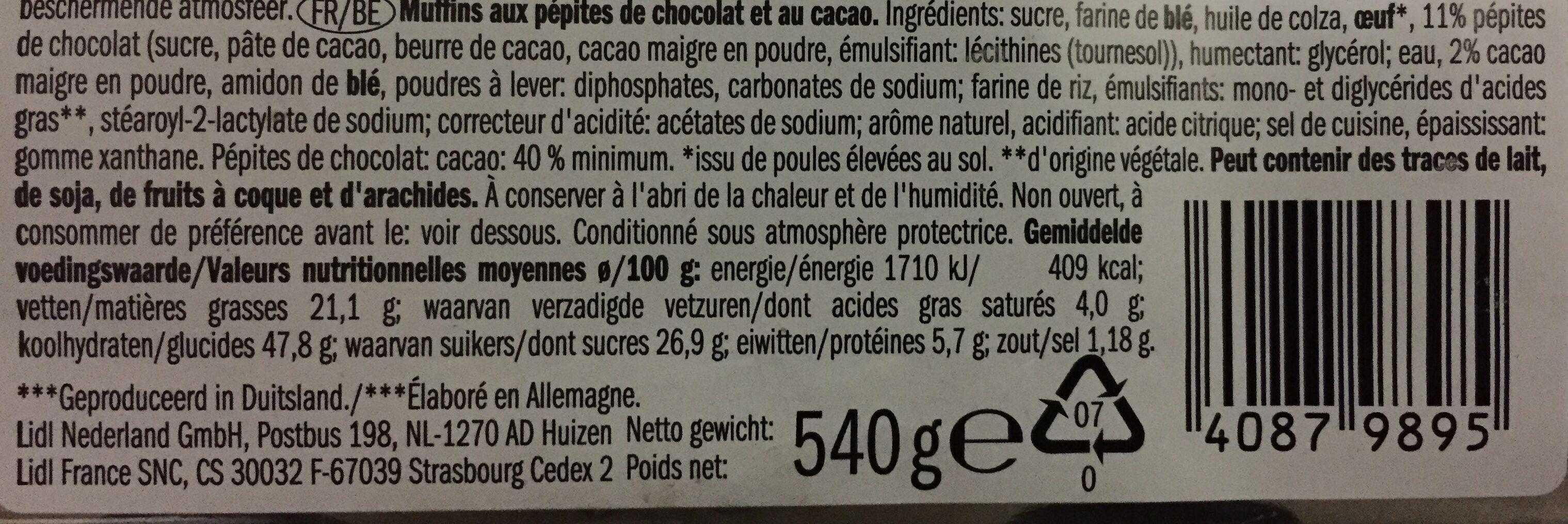 Muffins - Ingrédients