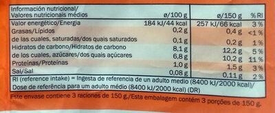 Smoothie mix Zanahoria, manzana, melocotón, piña y calabaza - Información nutricional
