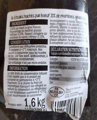 Steak haché pur boeuf - Informations nutritionnelles - fr