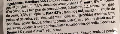 Tourte aux 3 viandes et foie gras - Ingrédients - fr