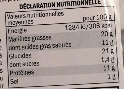 Tourte aux 3 viandes et foie gras - Informations nutritionnelles - fr