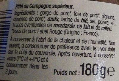 Pâte de campagne Breton - Ingrédients - fr