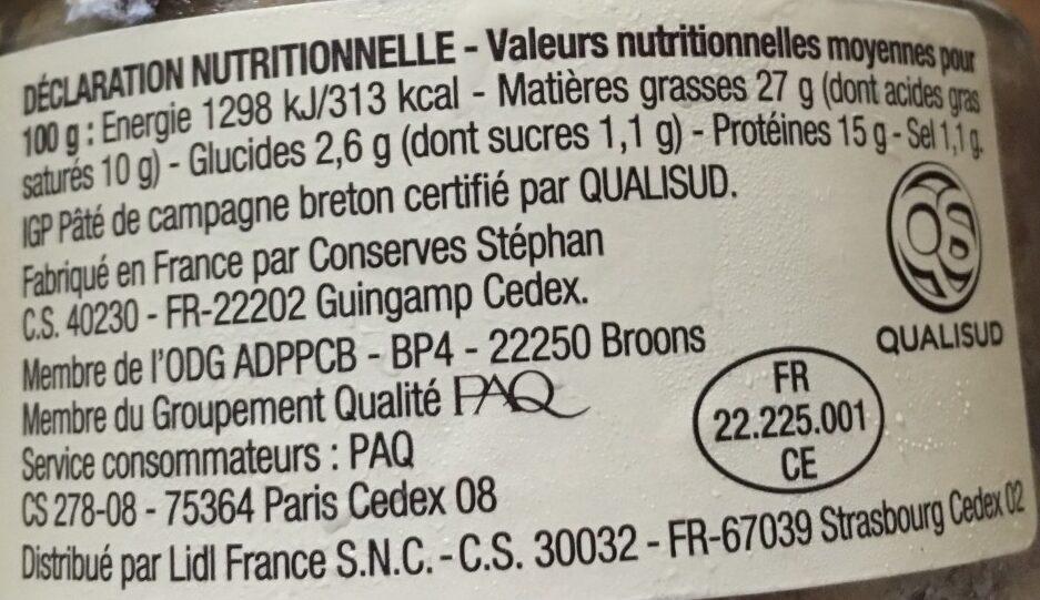 Pâte de campagne Breton - Informations nutritionnelles - fr