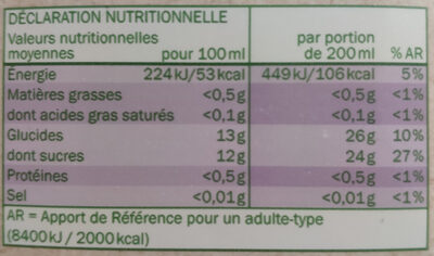 Pur jus multifruits bio - Nutrition facts - fr