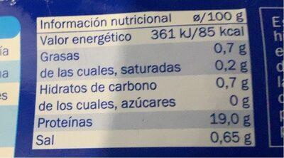 Langostino - Información nutricional - fr