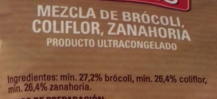 Coliflor, Brócoli y Zanahoria - Ingredientes - es