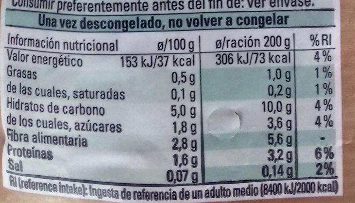 Coliflor, Brócoli y Zanahoria - Información nutricional - es