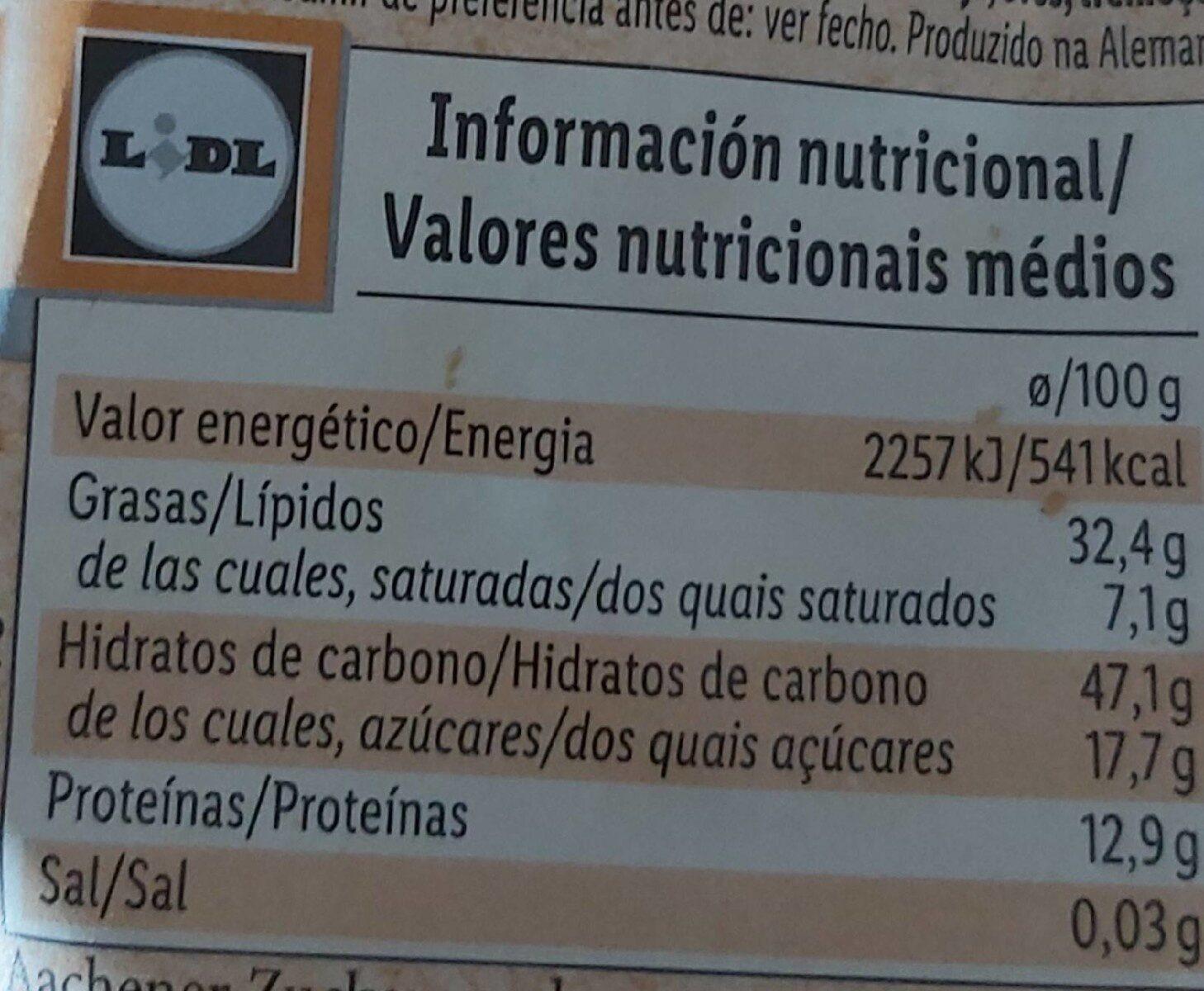 Galletas de avena, cacahuete y anacardo - Informação nutricional - es