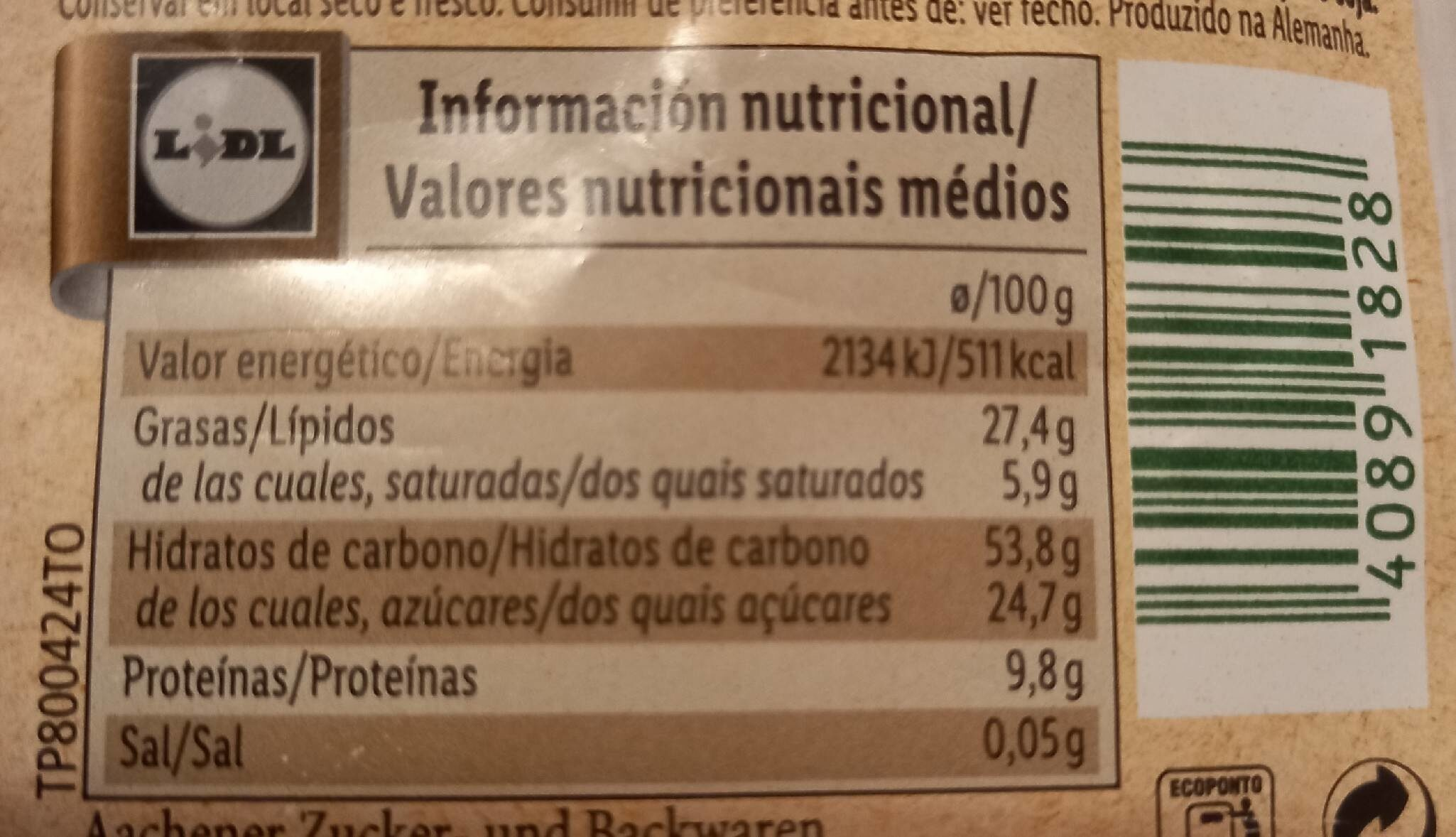 Galletas de avena, cacahuete y anacardo - Informations nutritionnelles - es