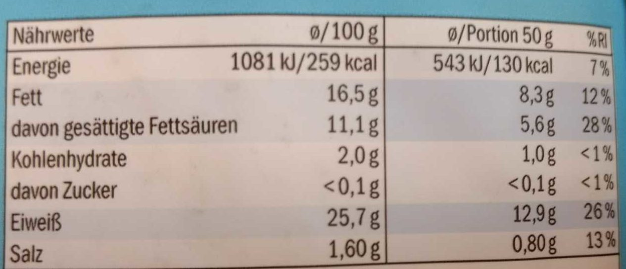 Gratinkase Der Leichte - Nutrition facts