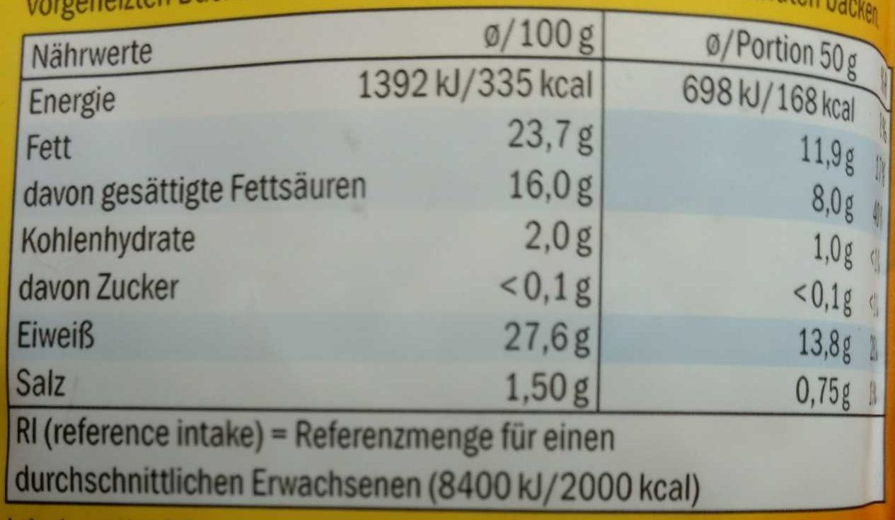 Gratin-Käse - Nutrition facts - de