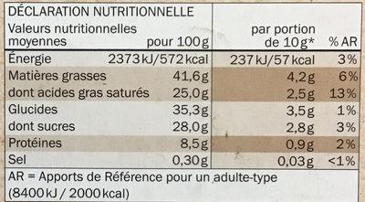 chocolat noir Bio 70% de cacao - Nutrition facts - fr
