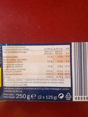 Filetes de Caballa en Salsa de Tomate - Informació nutricional