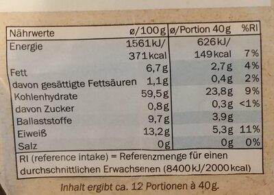 Bio Hafer Flocken zart - Nutrition facts - de