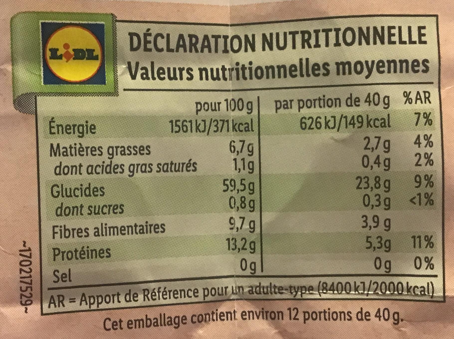 Bio Hafer Flocken zart - Informations nutritionnelles - fr