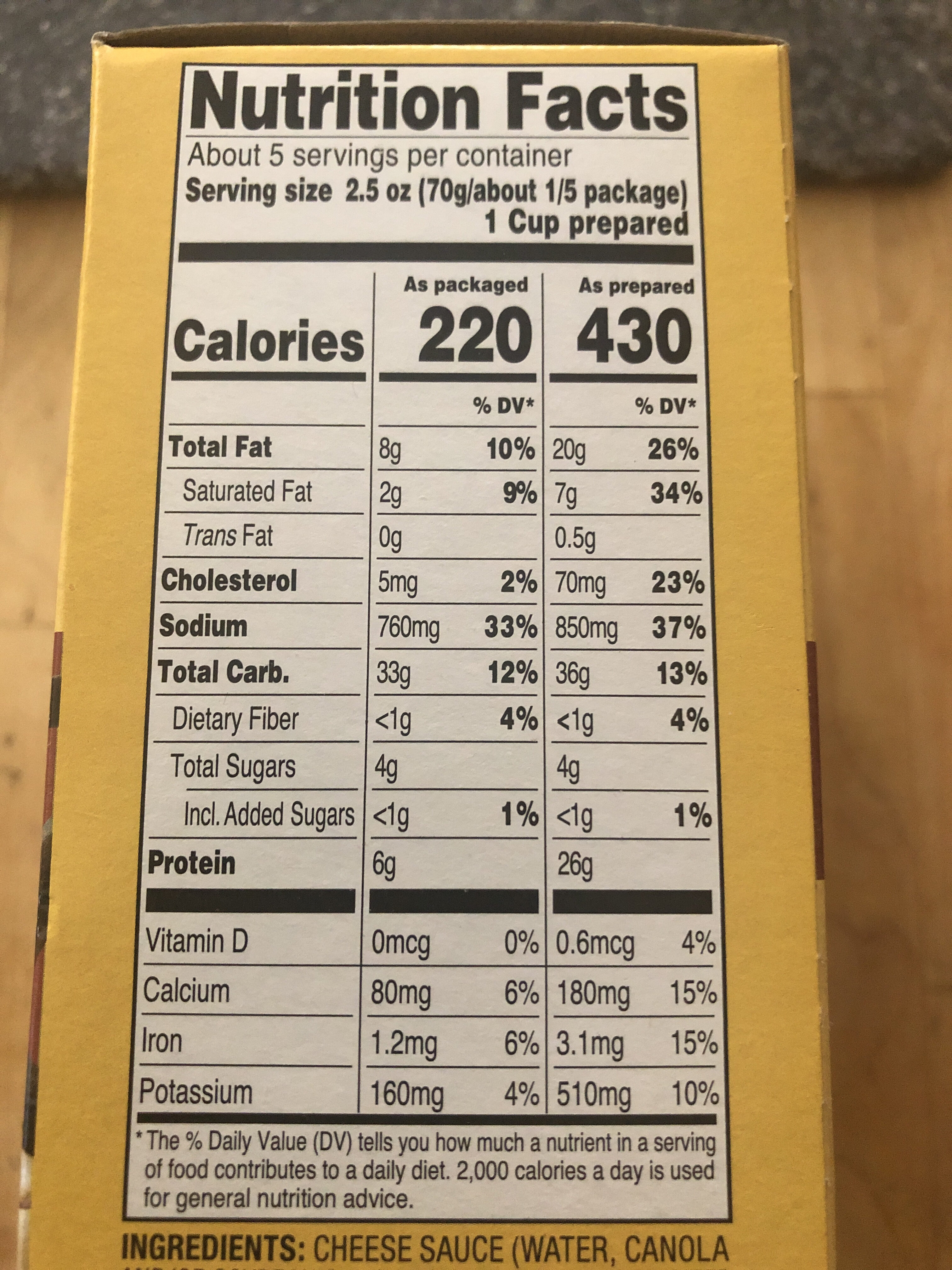 Cheesy Skillet Dinner Kit - Informations nutritionnelles