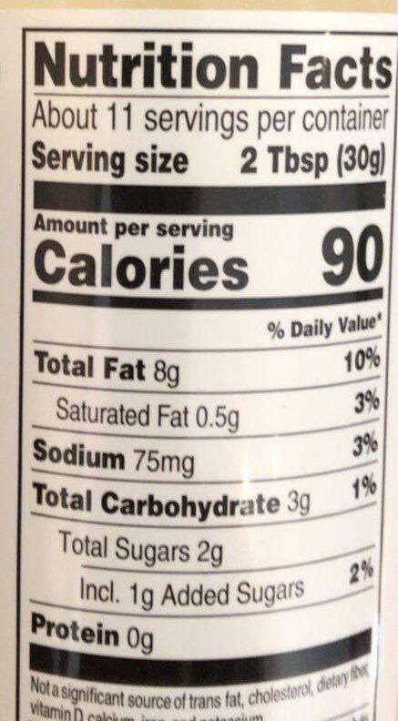 Apple Thyme Vinaigrette - Informations nutritionnelles - en