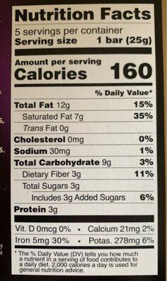 Dark 85% cocoa - Nutrition facts - en