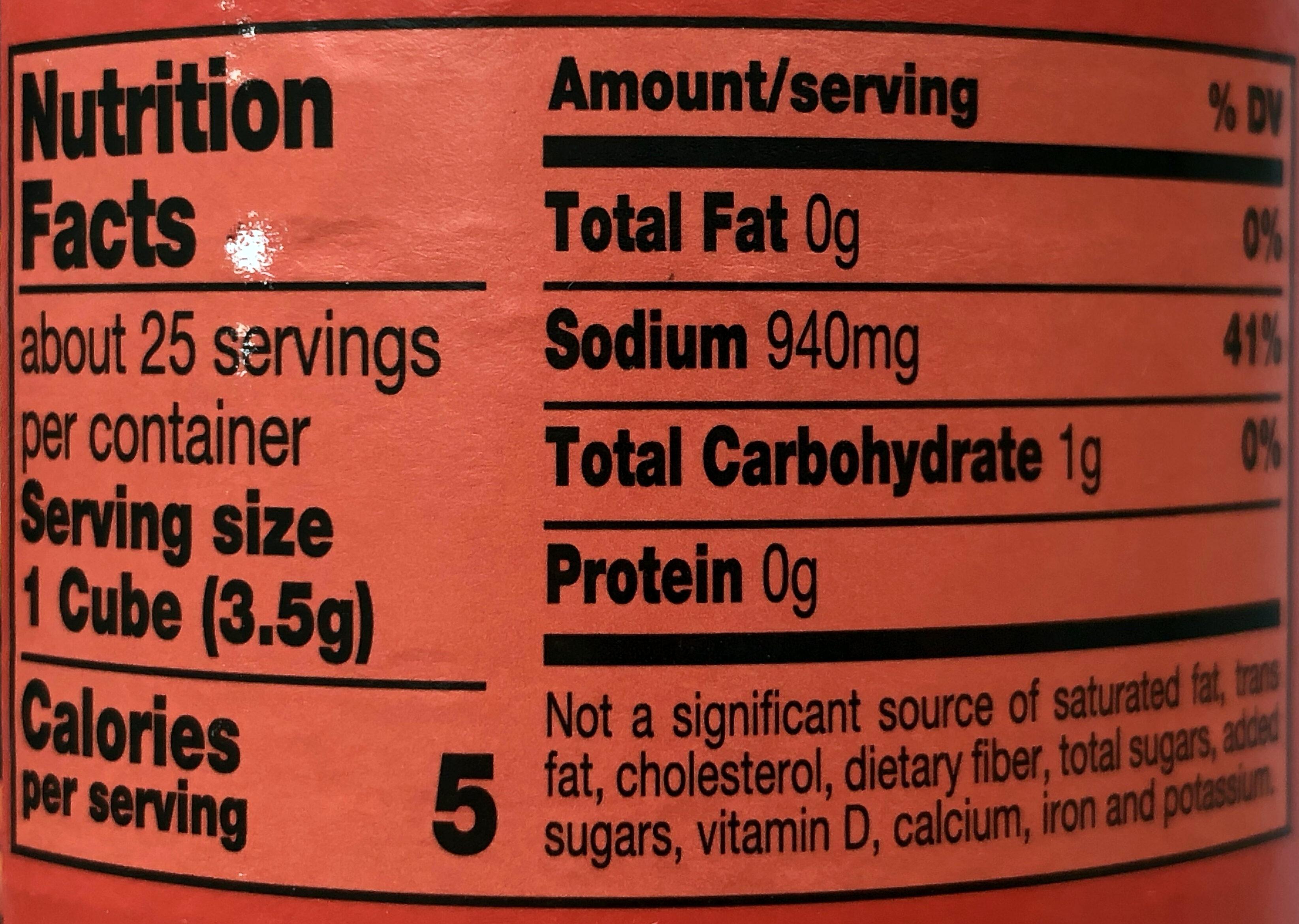 Beef Bouillon Cubes - Informations nutritionnelles