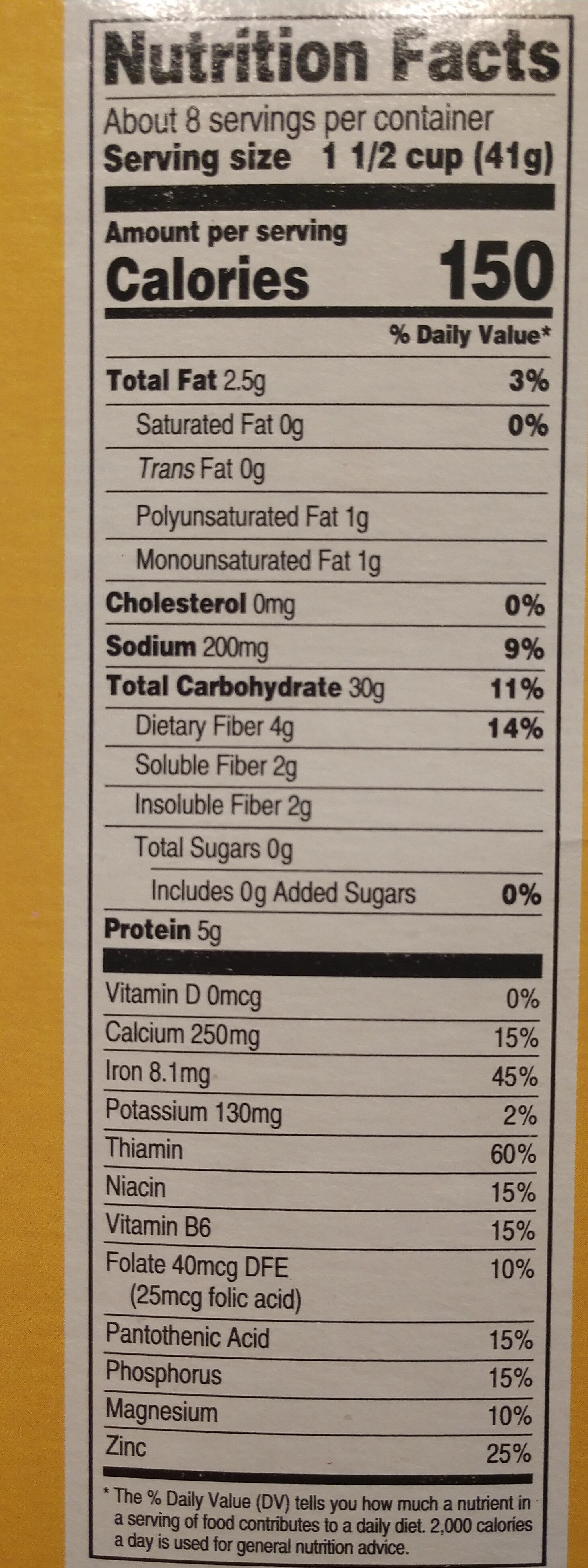 Crispy Oats - Nutrition facts