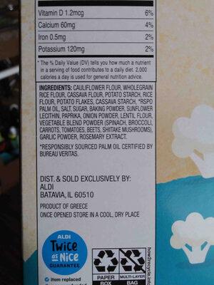 Simply Nature Cauliflower crackers (sea salt) - Ingredients - en