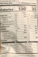Olive oil and sea salt popcorn - Nutrition facts - en