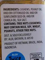 Southern Grove deluxe whole cashews with sea salt - Ingredients - en