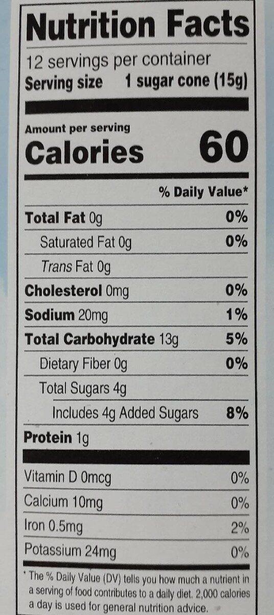 Sugar cones - Nutrition facts - en
