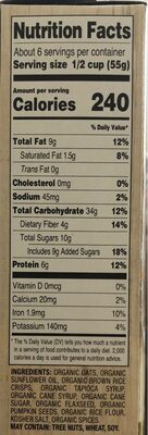 Pumpkin Seed & Flax Granola Cereal - Nutrition facts