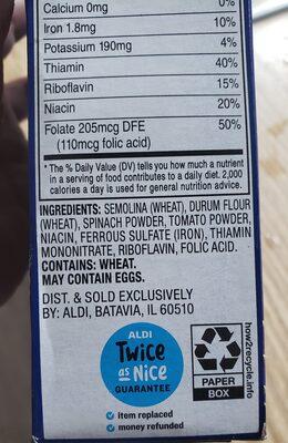 Tri color rotini - Ingredients
