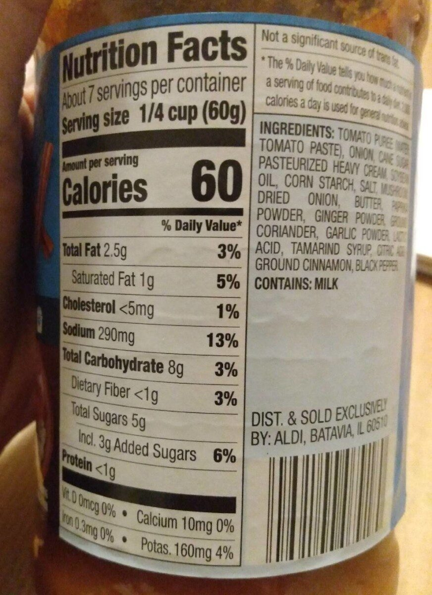 Butter chicken dinner sauce - Nutrition facts