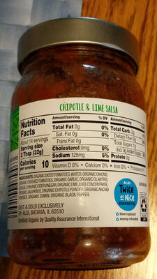 Organic Chipotle & Lime Salsa - Nutrition facts - en