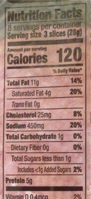 Hard salami - Valori nutrizionali - en