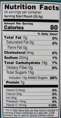 Fruit Flavored Snacks Assorted Tropical Flavors - Nutrition facts