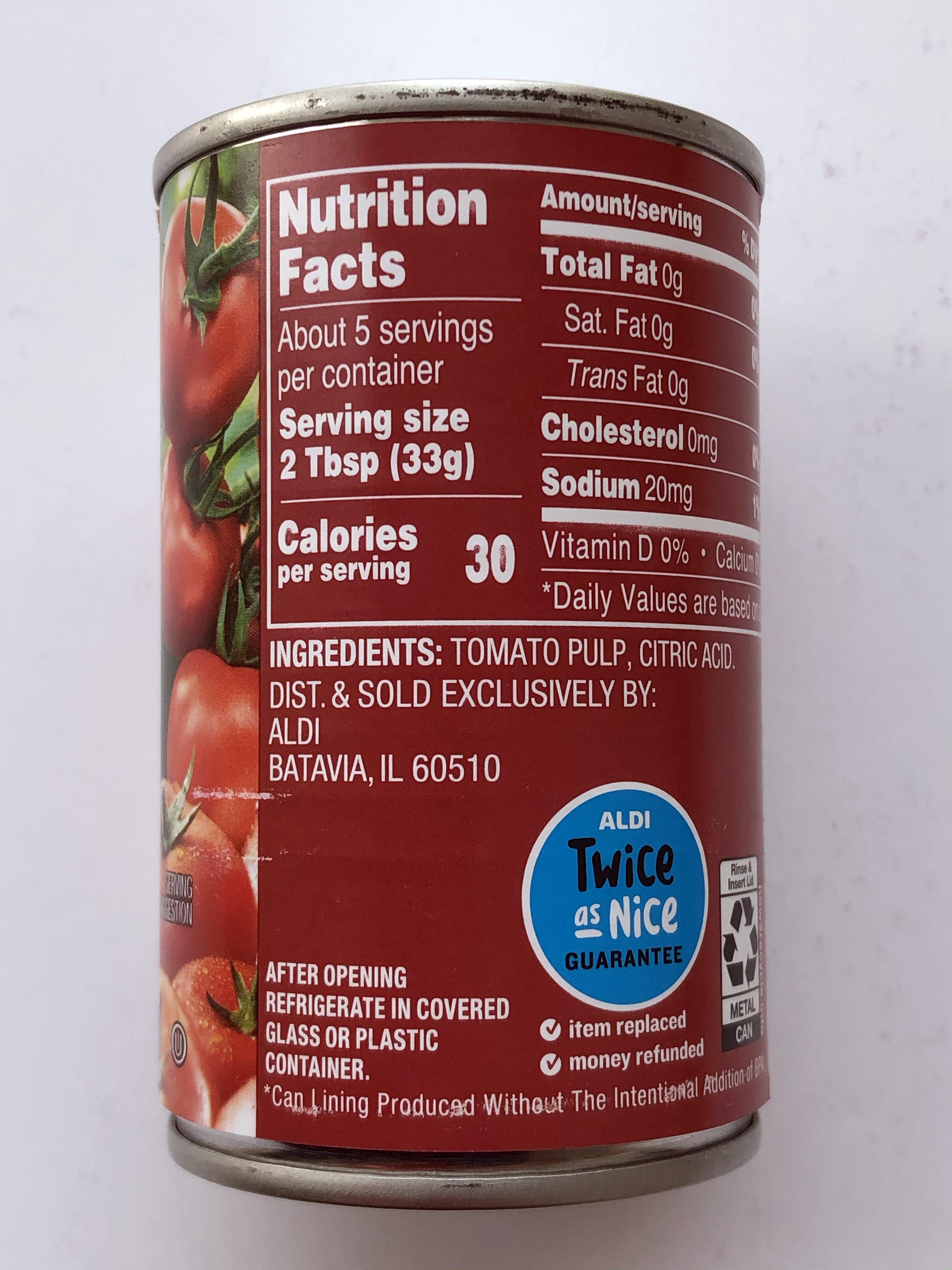 Tomato Paste - Informations nutritionnelles