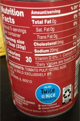 Tomato Paste Aldi 6 Oz 170g