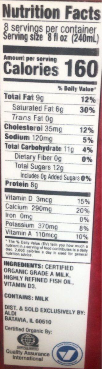 Organic whole milk - Nutrition facts - en
