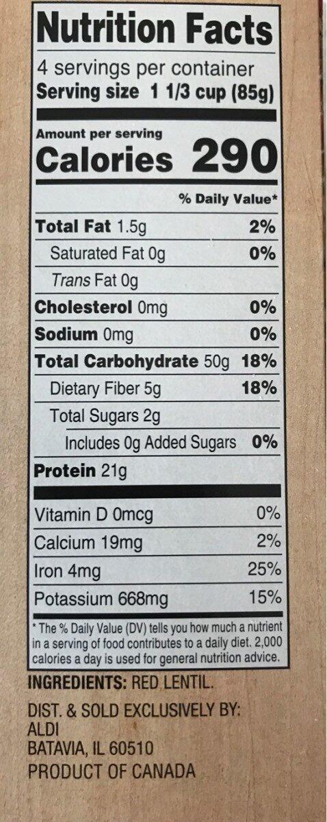Red Lentil Rotini - Voedingswaarden - en