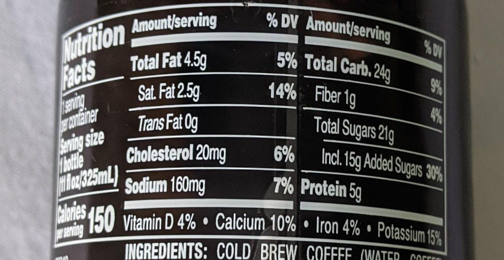 Cold Brew Cocoa and Honey Coffee Latte - Valori nutrizionali - en