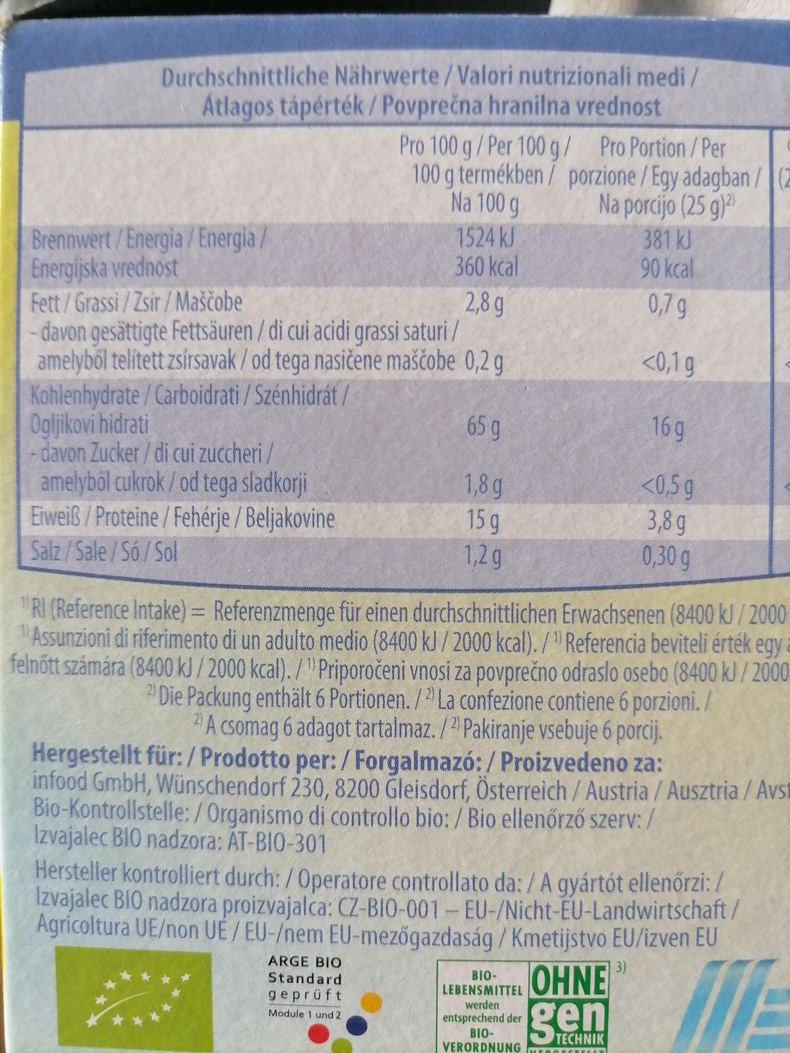 Bio Amaranth Knusperscheiben - Nutrition facts - de