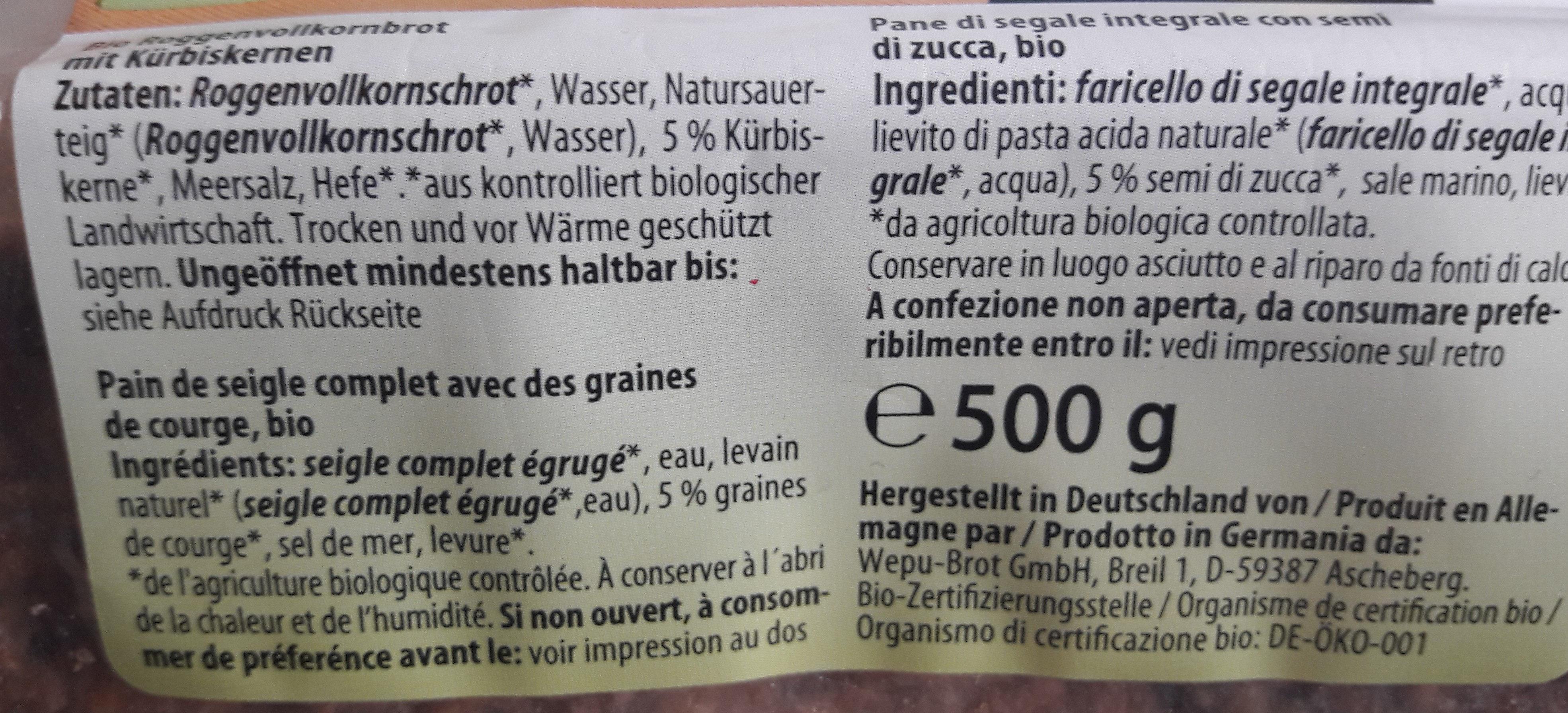 Pain de Seigle Complet Bio - Ingrédients - fr