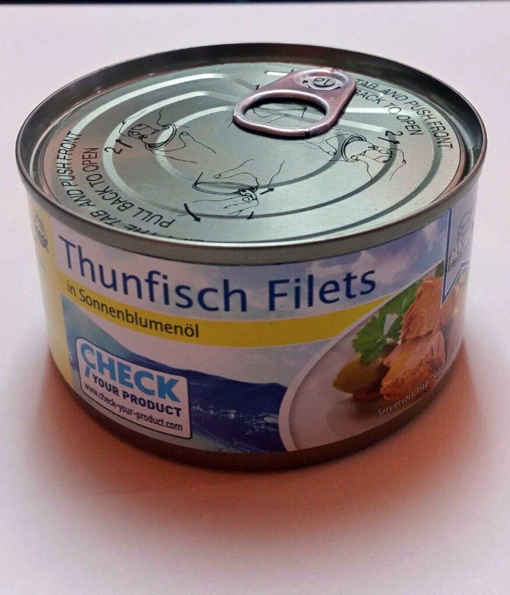 Filetti di tonnetto striatro (Katsuwanus pelamis) Tagliati, in olio di semi di girasole - Produkt - it