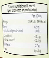 Filetti di tonnetto striatro (Katsuwanus pelamis) Tagliati, in olio di semi di girasole - Nährwertangaben - it