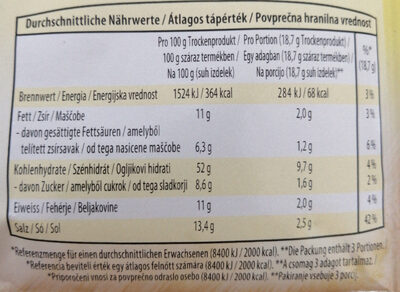 Instant gobova juha - Nutrition facts