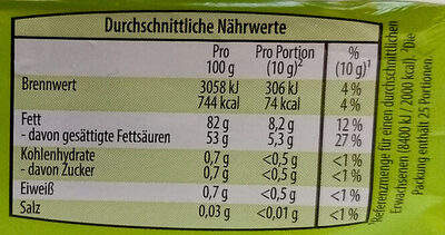 Bergbauern Butter - Nutrition facts