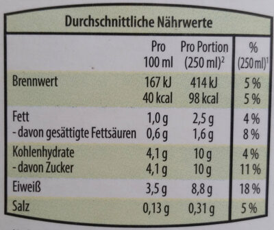 Bergbauern Heumilch Buttermilch Natur - Nutrition facts