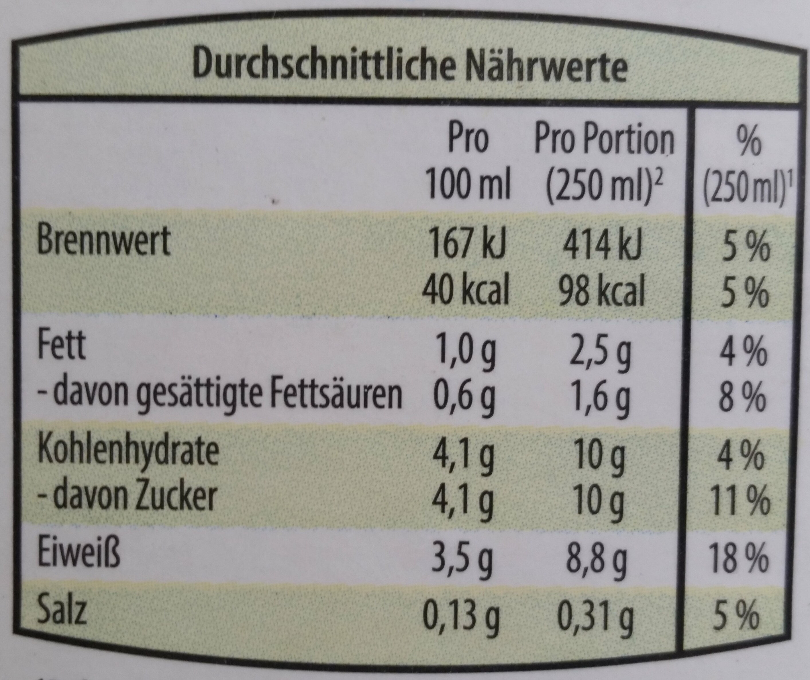 Bergbauern Heumilch Buttermilch Natur - Nutrition facts - de